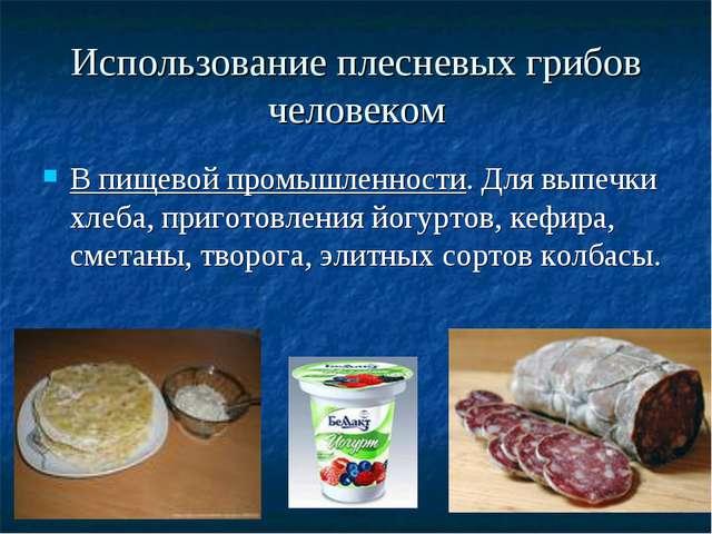 Использование плесневых грибов человеком В пищевой промышленности. Для выпечк...