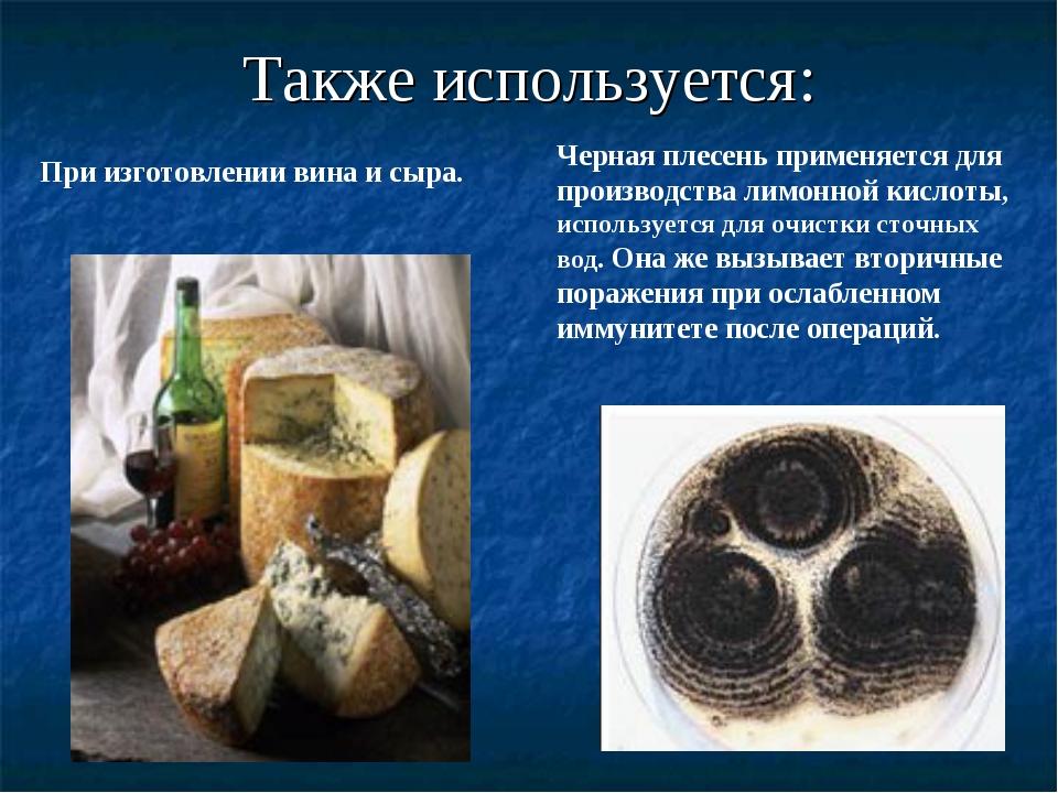 Также используется: При изготовлении вина и сыра. Черная плесень применяется...