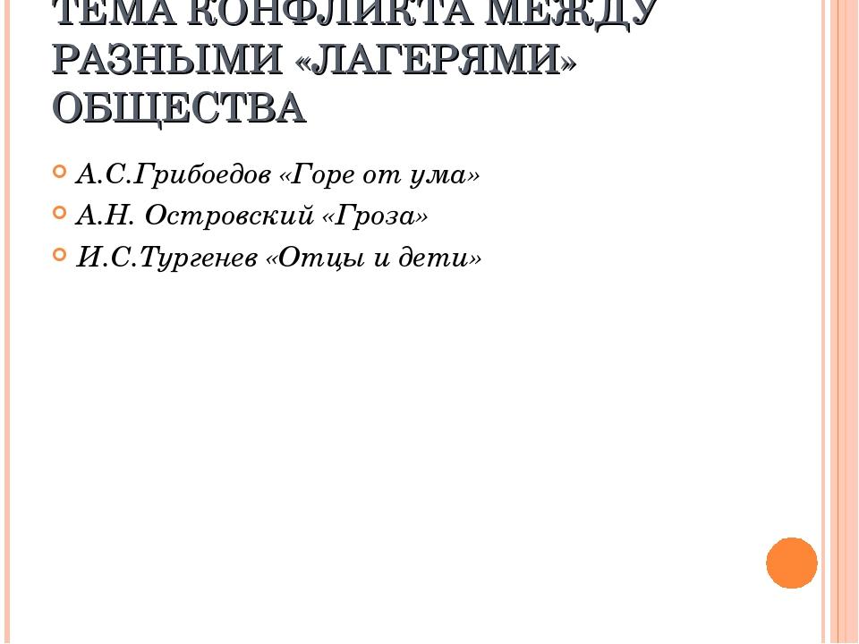 ТЕМА КОНФЛИКТА МЕЖДУ РАЗНЫМИ «ЛАГЕРЯМИ» ОБЩЕСТВА А.С.Грибоедов «Горе от ума»...