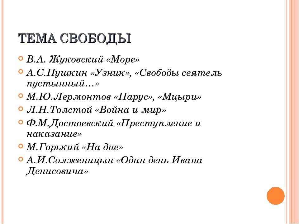 ТЕМА СВОБОДЫ В.А. Жуковский «Море» А.С.Пушкин «Узник», «Свободы сеятель пусты...
