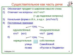 Нефедова О.Н. * Существительное как часть речи Обозначает предмет в широком с