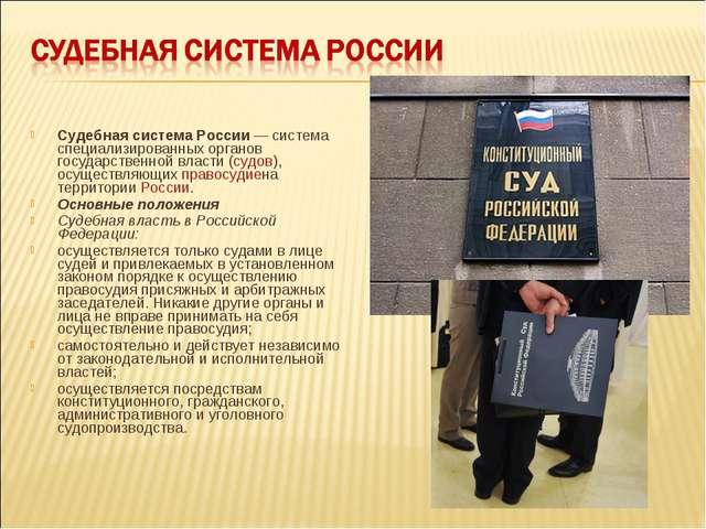 Судебная система России— система специализированных органов государственной...
