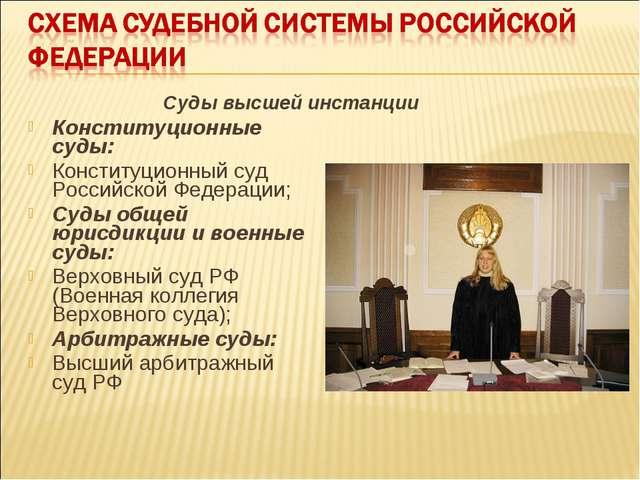 Конституционные суды: Конституционный суд Российской Федерации; Суды общей юр...