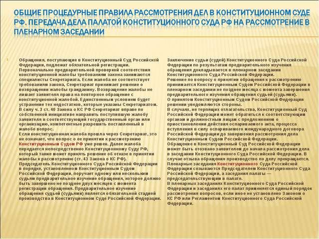 Обращения, поступающие в Конституционный Суд Российской Федерации, подлежат о...