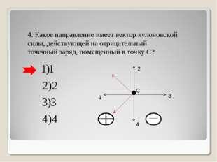 4. Какое направление имеет вектор кулоновской силы, действующей на отрицатель