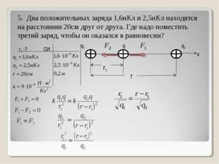5. Два положительных заряда 1,6нКл и 2,5нКл находятся на расстоянии 20см друг