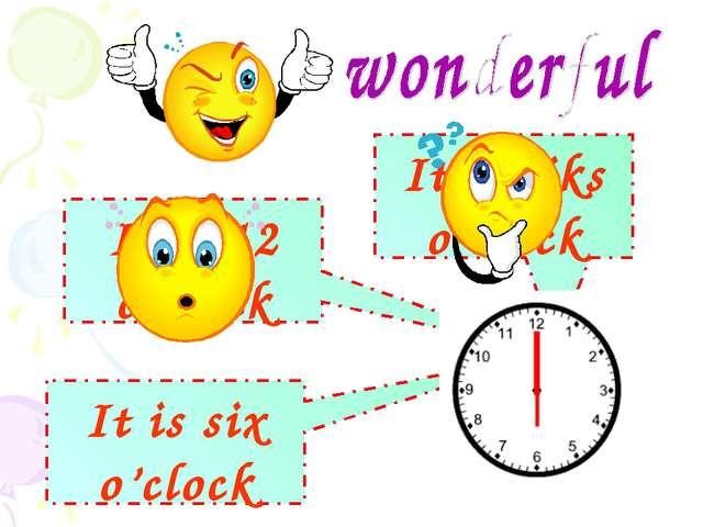 It is 12 o'clock It is six o'clock It is siks o'clock