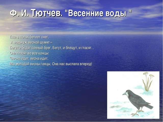 """Ф. И. Тютчев. """"Весенние воды """" Еще в полях белеет снег, А воды уж весной шумя..."""