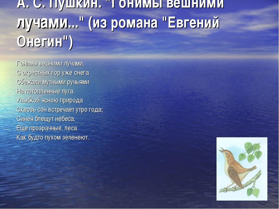 """А. С. Пушкин. """"Гонимы вешними лучами..."""" (из романа """"Евгений Онегин"""") Гонимы..."""