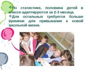По статистике, половина детей в классе адаптируются за 2-3 месяца. Для осталь