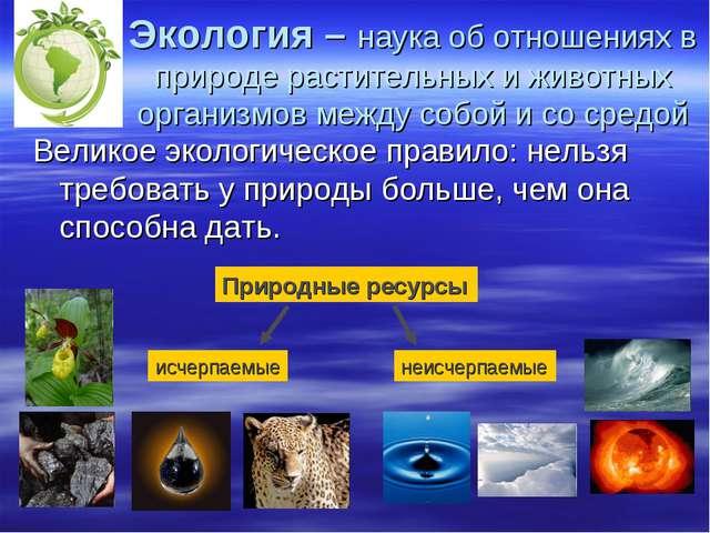 Экология – наука об отношениях в природе растительных и животных организмов м...