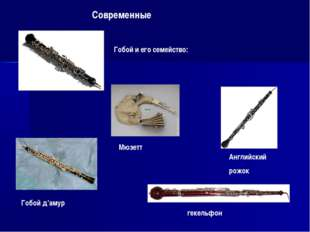 Современные Гобой и его семейство: Мюзетт Гобой д'амур Английский рожок гекел