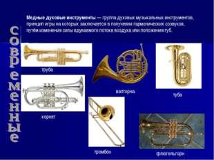 Медные духовые инструменты— группа духовых музыкальных инструментов, принцип