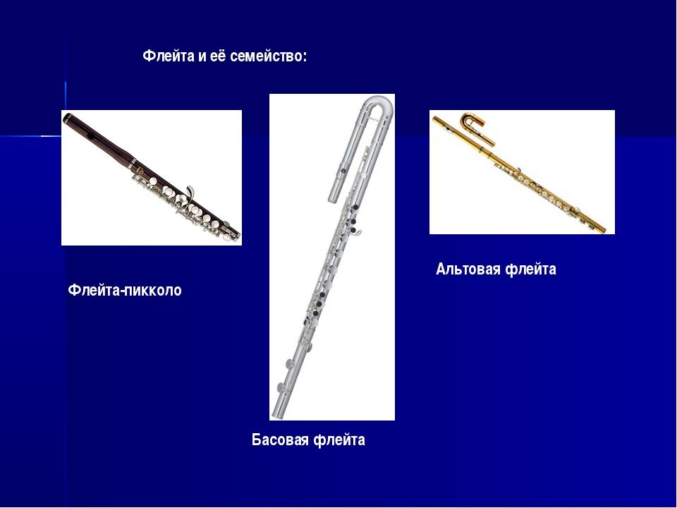 Флейта и её семейство: Флейта-пикколо Альтовая флейта Басовая флейта