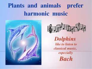 Plants and animals prefer harmonic music Dolphins like to listen to classica