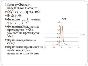 3)Если p=-2n,где n- натуральное число, то: D(y): , кроме x=0 E(y): y >0 Функц