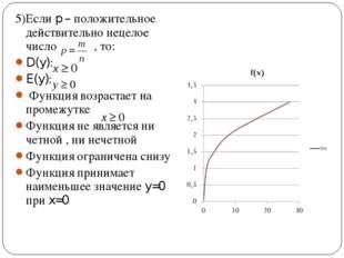 5)Если p – положительное действительно нецелое число , то: D(y): E(y): Функци