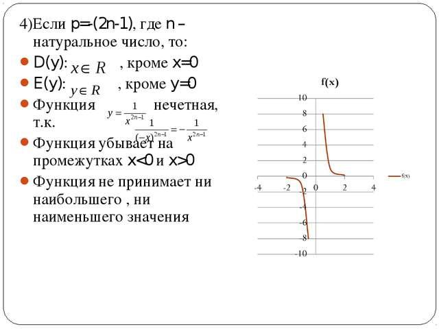 4)Если p=-(2n-1), где n – натуральное число, то: D(y): , кроме x=0 E(y): , кр...