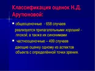 Классификация оценок Н.Д. Арутюновой: общеоценочные - 658 случаев реализуется