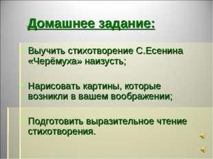 Домашнее задание: Выучить стихотворение С.Есенина «Черёмуха» наизусть; Нарис
