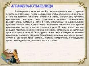 В северо-восточных местах России праздновали вместо Купалы Агриппину-купальн