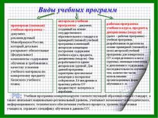 примерная (типовая) учебная программа – документ, рекомендуемый Минобрнауки Р