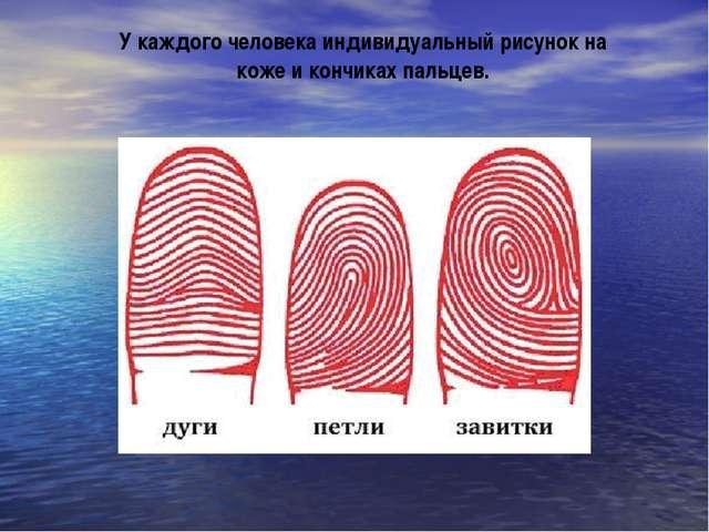 У каждого человека индивидуальный рисунок на коже и кончиках пальцев.