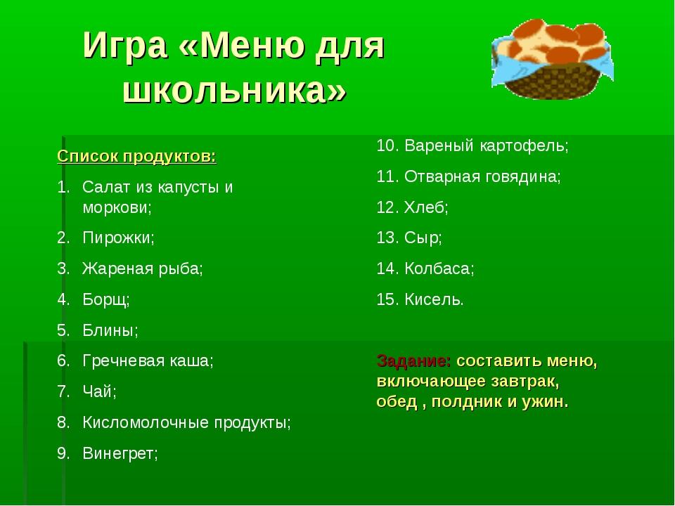 Игра «Меню для школьника» Список продуктов: Салат из капусты и моркови; Пирож...