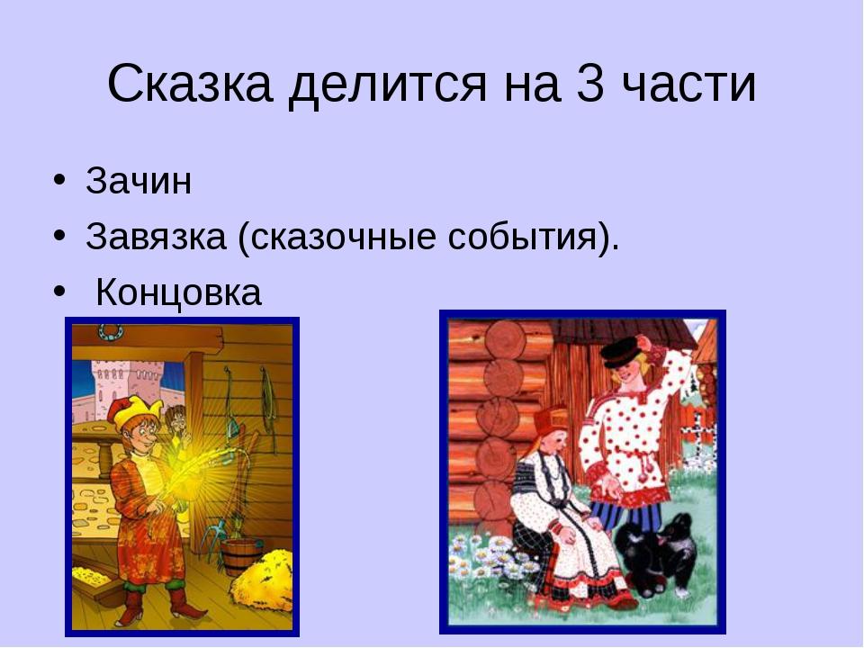 Сказка делится на 3 части Зачин Завязка (сказочные события). Концовка