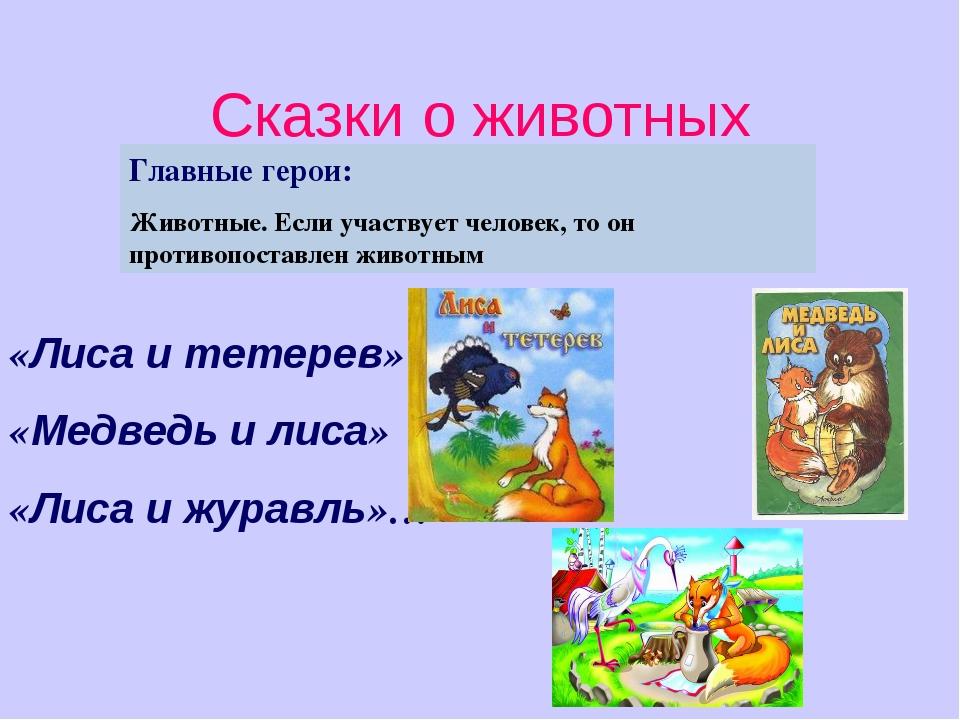 Сказки о животных «Лиса и тетерев» «Медведь и лиса» «Лиса и журавль»… Главные...