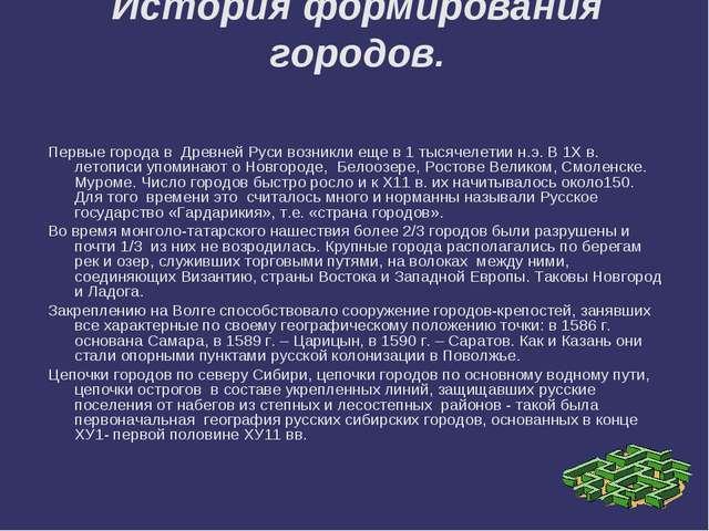 История формирования городов. Первые города в Древней Руси возникли еще в 1 т...