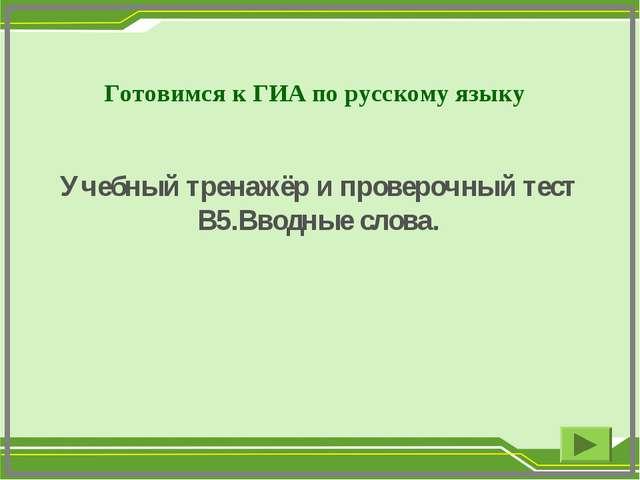 Готовимся к ГИА по русскому языку Учебный тренажёр и проверочный тест В5.Вво...