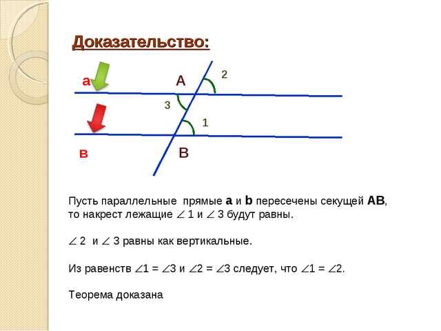 Доказательство: 2 а в А В 3 1 Пусть параллельные прямые а и b пересечены секу...