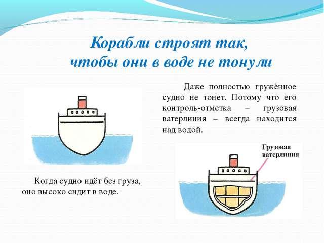 Корабли строят так, чтобы они в воде не тонули Когда судно идёт без груза, он...
