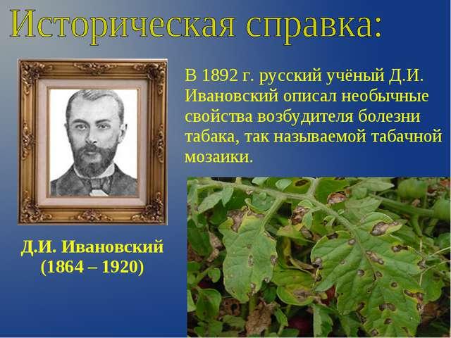 Д.И. Ивановский (1864 – 1920) В 1892 г. русский учёный Д.И. Ивановский описал...