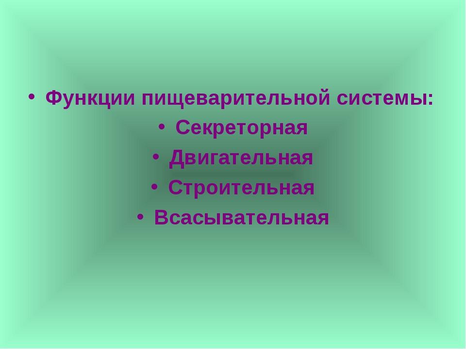 Функции пищеварительной системы: Секреторная Двигательная Строительная Всасыв...