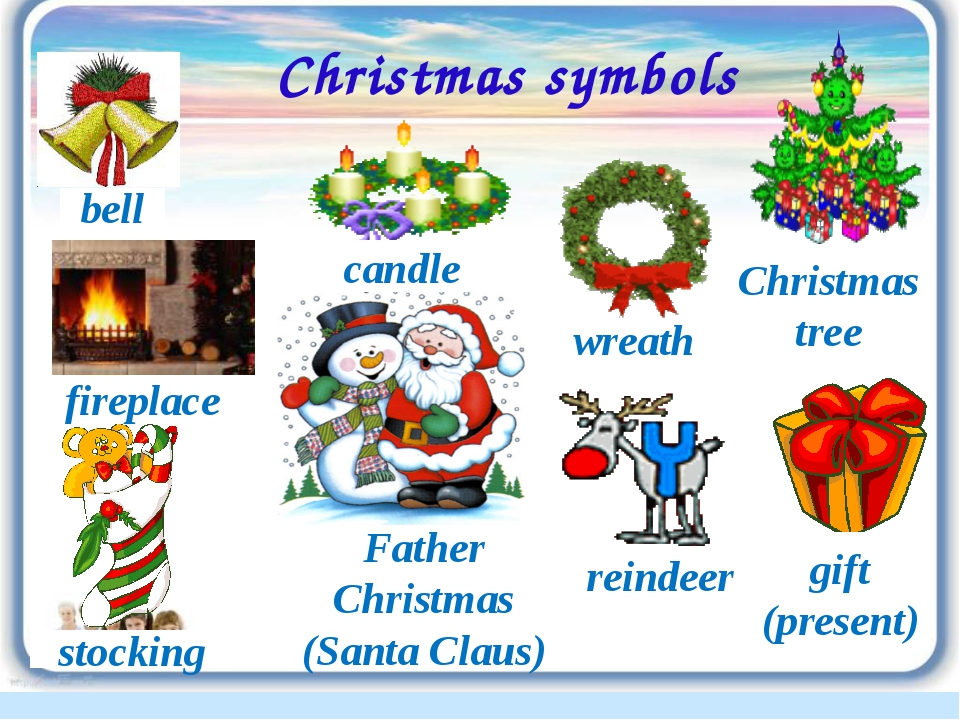 Christmas symbols wreath reindeer bell stocking fireplace Father Christmas (S...