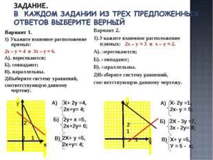 Вариант 1. 1) Укажите взаимное расположение прямых: 2х – у = 4 и 3х – у = 6.
