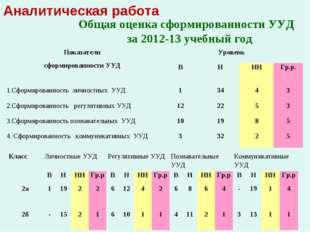 Аналитическая работа Общая оценка сформированности УУД за 2012-13 учебный год