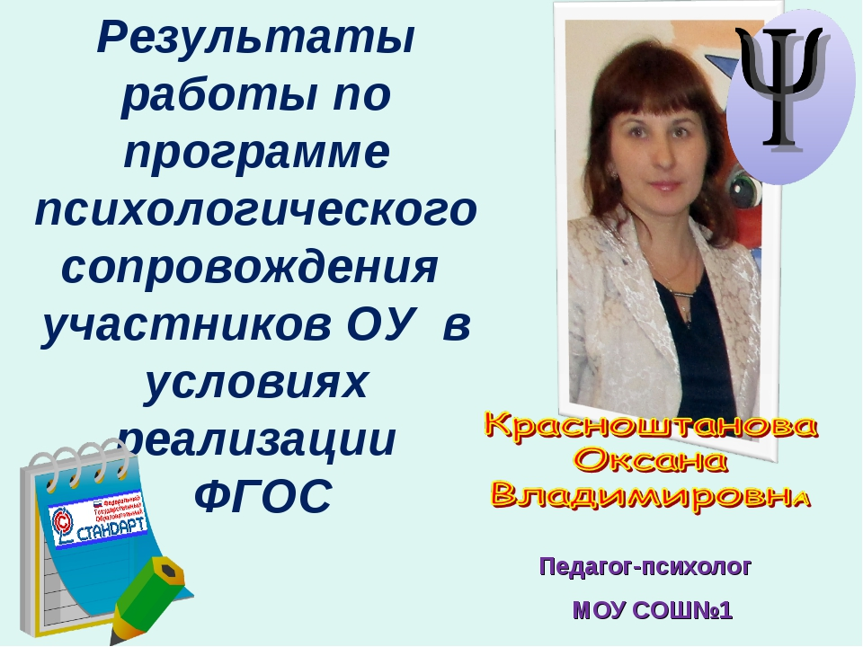 Педагог-психолог МОУ СОШ№1 Результаты работы по программе психологического со...