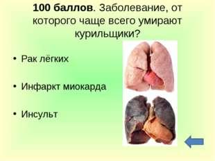 100 баллов. Заболевание, от которого чаще всего умирают курильщики? Рак лёгки