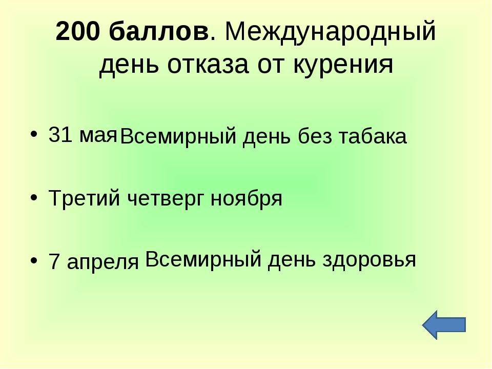 200 баллов. Международный день отказа от курения 31 мая Третий четверг ноября...