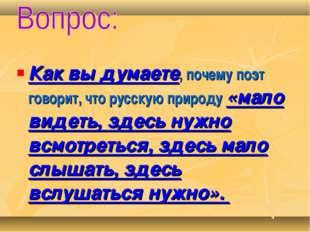 Как вы думаете, почему поэт говорит, что русскую природу «мало видеть, здесь