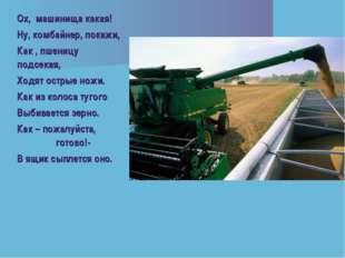 Ох, машинища какая! Ну, комбайнер, покажи, Как , пшеницу подсекая, Ходят остр