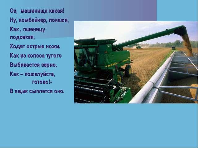 Ох, машинища какая! Ну, комбайнер, покажи, Как , пшеницу подсекая, Ходят остр...