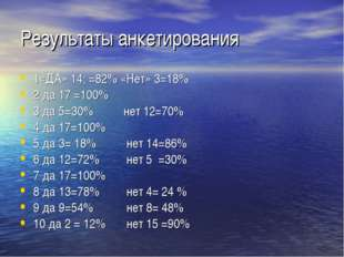 Результаты анкетирования 1«ДА» 14; =82% «Нет» 3=18% 2 да 17 =100% 3 да 5=30%