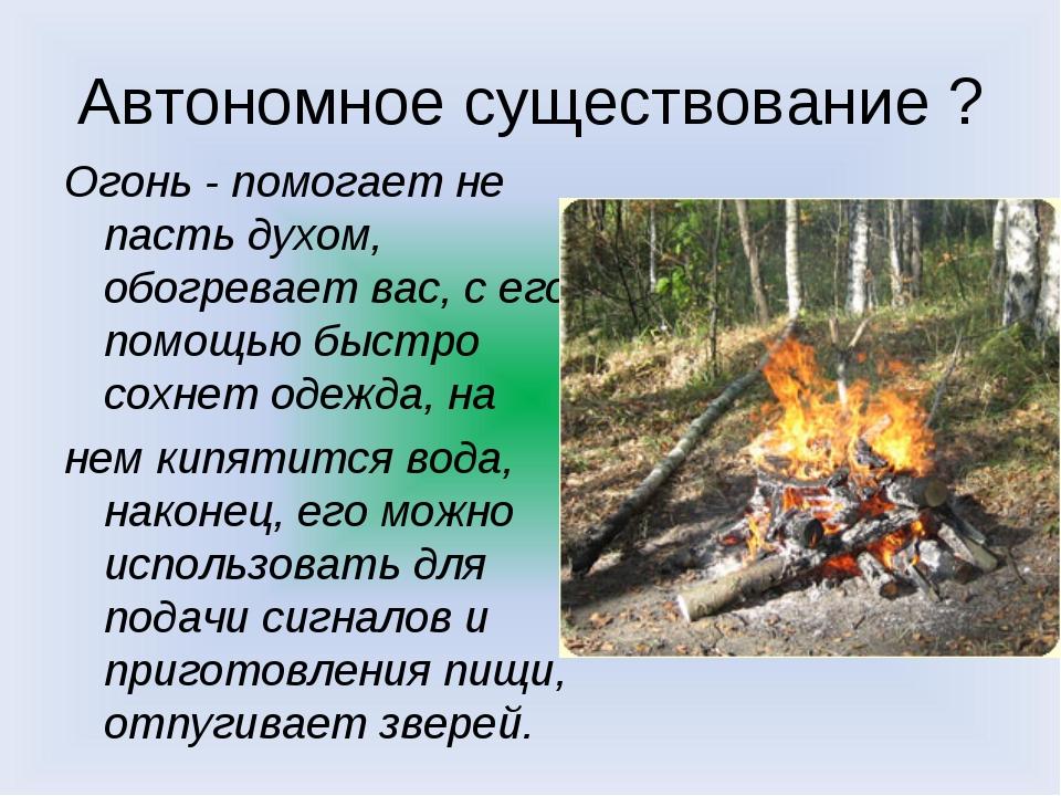 Автономное существование ? Огонь - помогает не пасть духом, обогревает вас, с...