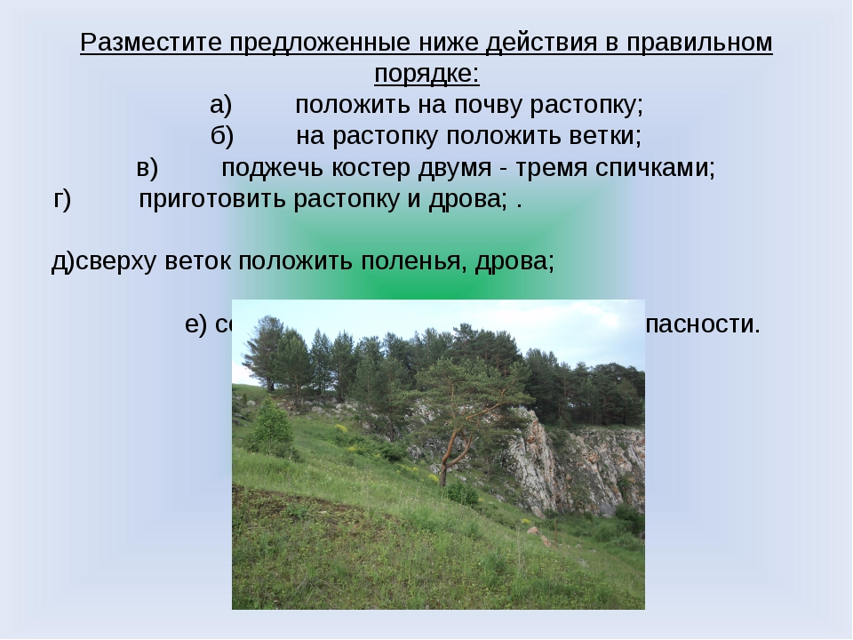 Разместите предложенные ниже действия в правильном порядке: а)положить на по...