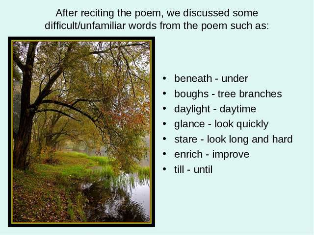 After reciting the poem, we discussed some difficult/unfamiliar words from th...