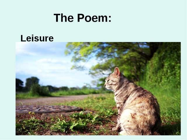 The Poem: Leisure